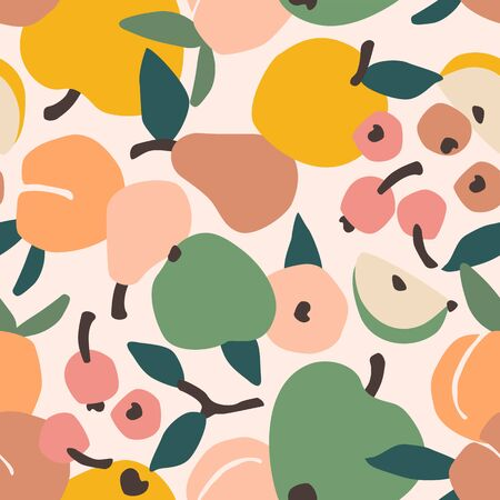Vector seamless pattern with fruits. Trendy hand drawn textures. Illustration