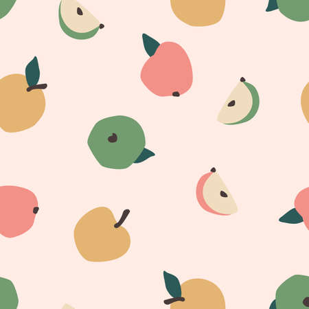 Vector seamless pattern with apples. Trendy hand drawn textures.