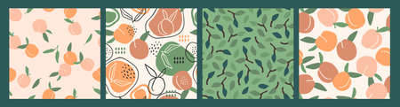 Vector seamless patterns with peaches. Trendy hand drawn textures.