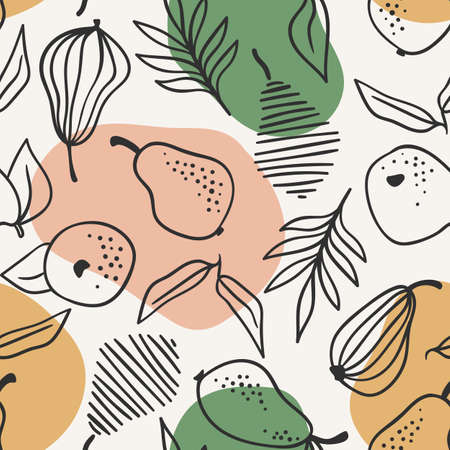 Vector seamless pattern with simple pears. Trendy hand drawn textures.