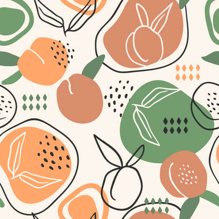 Vector seamless pattern with peaches. Trendy hand drawn textures. Illustration