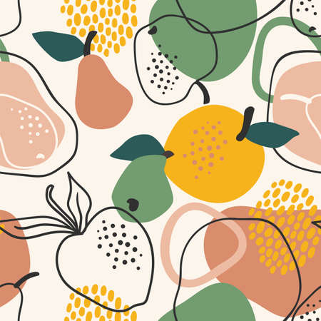 Vector seamless pattern with apples and pears. Trendy hand drawn textures.