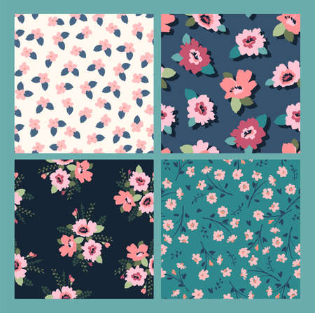 Floral abstract seamless patterns. Vector design for different surfases. Illustration
