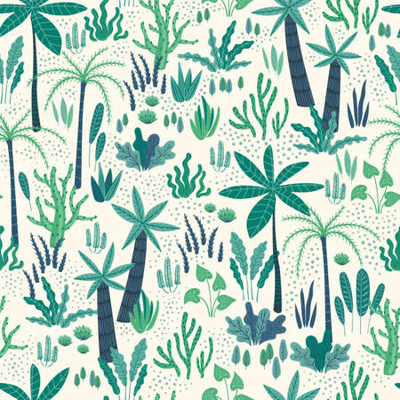 Seamless pattern with abstract tropical plants. Vector design.