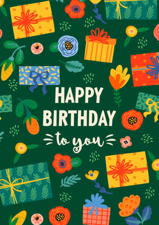 Happy Birthday. Vector illustration with cute gift boxes and flowers. Design template for card, poster, flyer, banner and other use Illustration