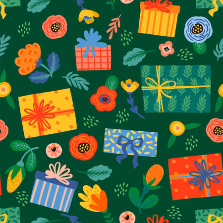 Happy Birthday. Seamless pattern with cute gift boxes and flowers. Vector design