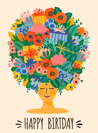 Happy Birthday. Vector illustration of cute lady with bouquet of flowers and gift boxes on head. Design template for card, poster, flyer, banner and other use