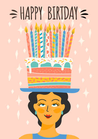 Happy Birthday. Vector illustration of cute lady with cake on the head. Design template for card, poster, flyer, banner and other use