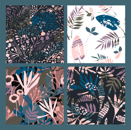 Abstract floral seamless patterns with trendy hand drawn textures. Modern abstract design for paper, cover, fabric, interior decor and other users Illustration