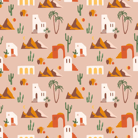 Seamless pattern with southern landscape. Mediterranean, North Africa. Modern abstract design