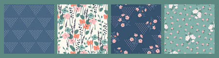 Floral seamless patterns. Vector design for paper, cover, fabric, interior decor and other users