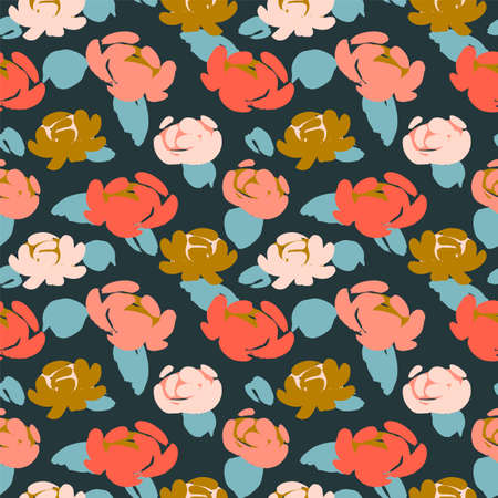 Floral seamless pattern with roses . Vector design for paper, cover, fabric, interior decor and other users
