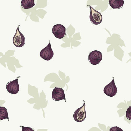 Seamless pattern with figs. Trendy hand drawn textures. Modern abstract design