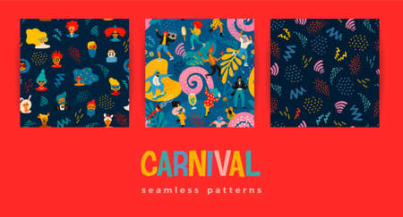 Seamless patterns with funny dancing men and women in bright modern costumes, carnival objects and abstract shapes.