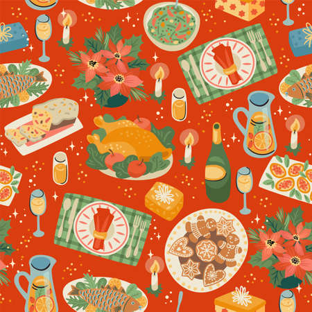Christmas and Happy New Year seamless pattern with festive meal. Vector design template.