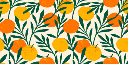 Vector seamless pattern with mandarins. Modern abstract design for paper, cover, fabric, interior decor and other users.