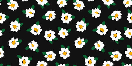 Abstract floral seamless pattern with chamomile. Trendy hand drawn textures. Modern abstract design Ilustração