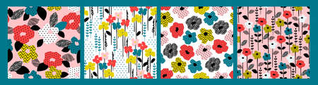 Floral abstract seamless patterns. Vector design for paper, cover, fabric, interior decor and other Ilustração