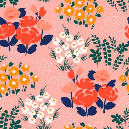 Floral abstract seamless pattern. Vector design for different surfases. Ilustração