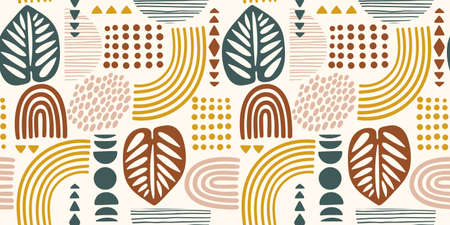 Seamless pattern with abstract leaves and geometric shapes. Modern vector design