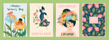 International Women s Day. Set of vector templates with cute women and flowers for card, poster, flyer and other Zdjęcie Seryjne - 162454822