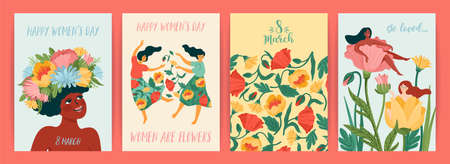International Women s Day. Set of vector templates with cute women and flowers for card, poster, flyer and other Zdjęcie Seryjne - 162454823
