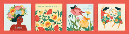 International Women s Day. Set of vector templates with cute women and flowers for card, poster, flyer and other
