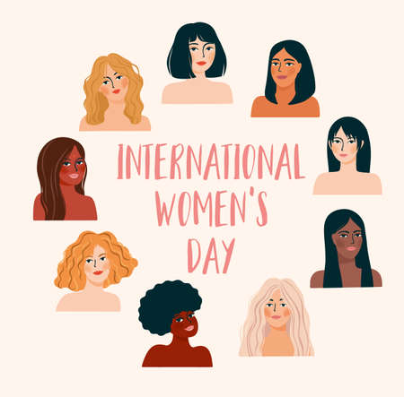 International Womens Day. Vector illustration with women different nationalities and cultures. Zdjęcie Seryjne - 162454834
