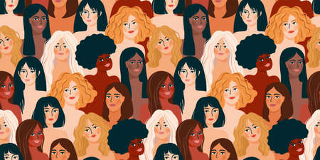 International Womens Day. Vector seamless pattern with women different nationalities and cultures. Zdjęcie Seryjne - 162454835