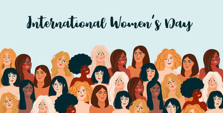 International Women's Day illustration with women of different nationalities and cultures. Çizim
