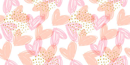 Vector seamless pattern with hand drawn hearts. Design template for valentines day and other users. Zdjęcie Seryjne - 163481273