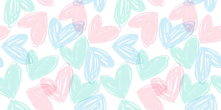 Vector seamless pattern with hand drawn hearts. Design template for valentines day and other users.