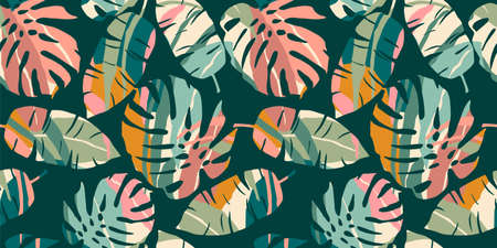 Tropical seamless pattern with abstract leaves. Modern design for paper, cover, fabric, interior decor and other Zdjęcie Seryjne - 163481277