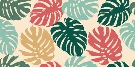 Tropical seamless pattern with abstract leaves. Modern design for paper, cover, fabric, interior decor and other