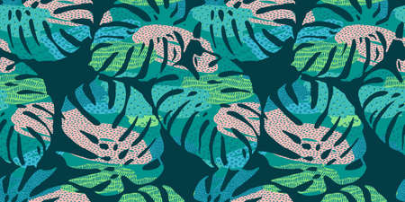 Tropical seamless pattern with abstract leaves. Modern design for paper, cover, fabric, interior decor and other Zdjęcie Seryjne - 163481288