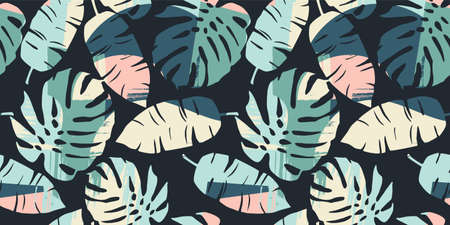 Tropical seamless pattern with abstract leaves. Modern design for paper, cover, fabric, interior decor and other Zdjęcie Seryjne - 163481298
