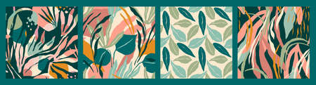 Abstract collection of seamless patterns with tropiclal leaves . Vector design
