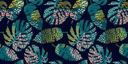 Seamless exotic pattern with tropical leaves, animal prints and hand drawn textures. Vector illustration. Ilustracja