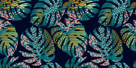 Seamless exotic pattern with tropical leaves, animal prints and hand drawn textures. Vector illustration. Çizim
