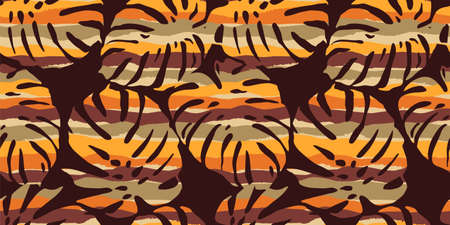 Seamless exotic pattern with tropical leaves and stripes. Modern abstract design