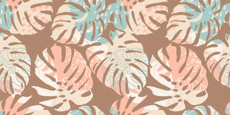 Tropical seamless pattern with abstract leaves. Modern design for paper, cover, fabric, interior decor and other Zdjęcie Seryjne - 163481305