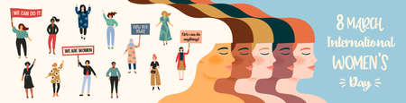 International Womens Day. Vector illustration with women different nationalities and cultures. Zdjęcie Seryjne - 163481306