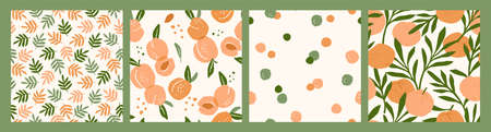 Abstract collection of seamless patterns with apricots and oranges. Çizim