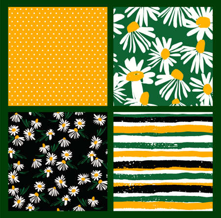 Abstract floral seamless patterns with chamomile. Trendy hand drawn textures. Modern abstract design Zdjęcie Seryjne - 163481308