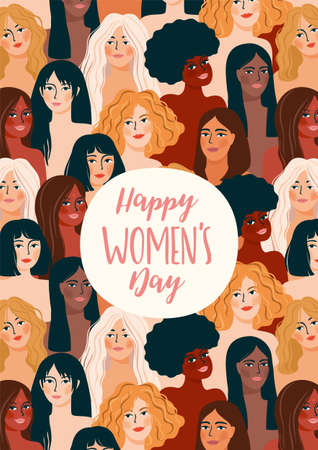 International Womens Day. Vector illustration with women different nationalities and cultures. Zdjęcie Seryjne - 164046228