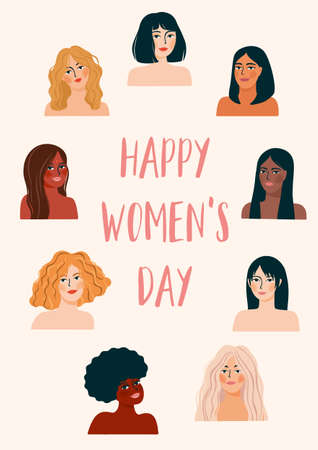 International Womens Day. Vector illustration with women different nationalities and cultures. Zdjęcie Seryjne - 164046230