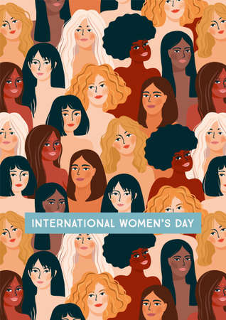 International Womens Day. Vector illustration with women different nationalities and cultures. Stok Fotoğraf - 164046106