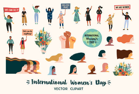 International Womens Day. Vector clipart with women different nationalities and cultures. Stok Fotoğraf - 164099489