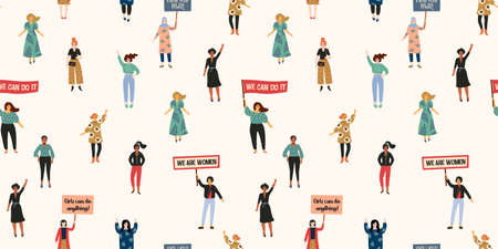 International Womens Day. Vector seamless pattern with with women different nationalities and cultures.  イラスト・ベクター素材