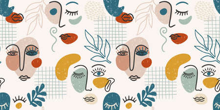 Contemporary portrait. Vector seamless pattern wtih trandy abstract face painting. Stok Fotoğraf - 164293496